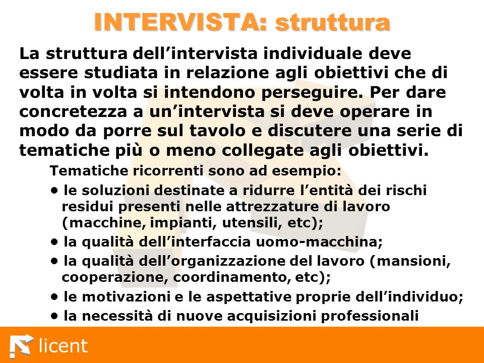 INTERVISTA: struttura