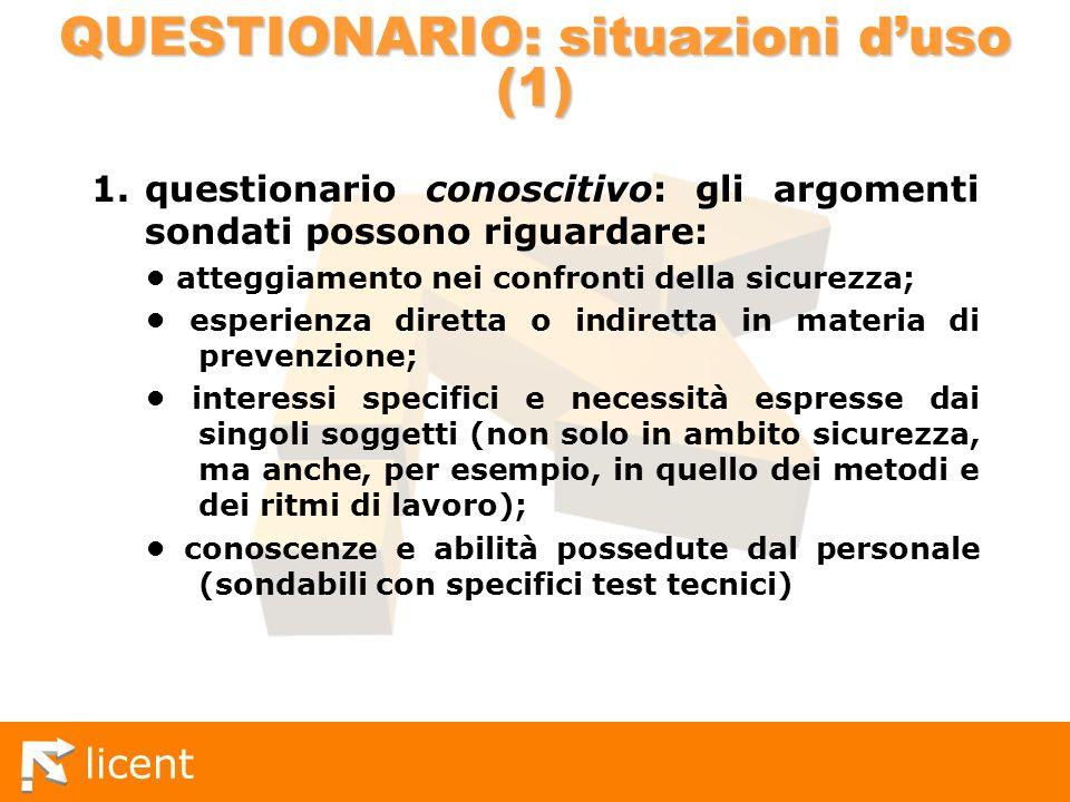 QUESTIONARIO: situazioni d'uso (1)