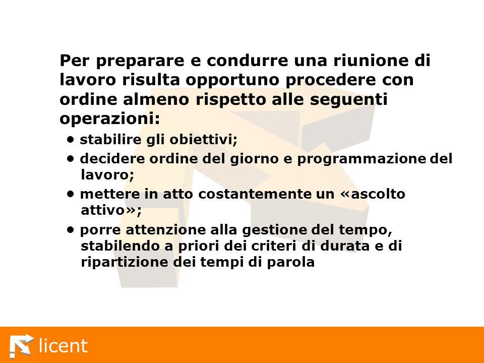 Per preparare e condurre una riunione di lavoro risulta opportuno procedere con ordine almeno rispetto alle seguenti operazioni: