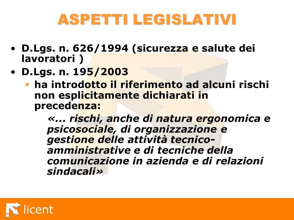 ASPETTI LEGISLATIVI D.Lgs. n. 626/1994 (sicurezza e salute dei lavoratori ) D.Lgs. n. 195/2003.