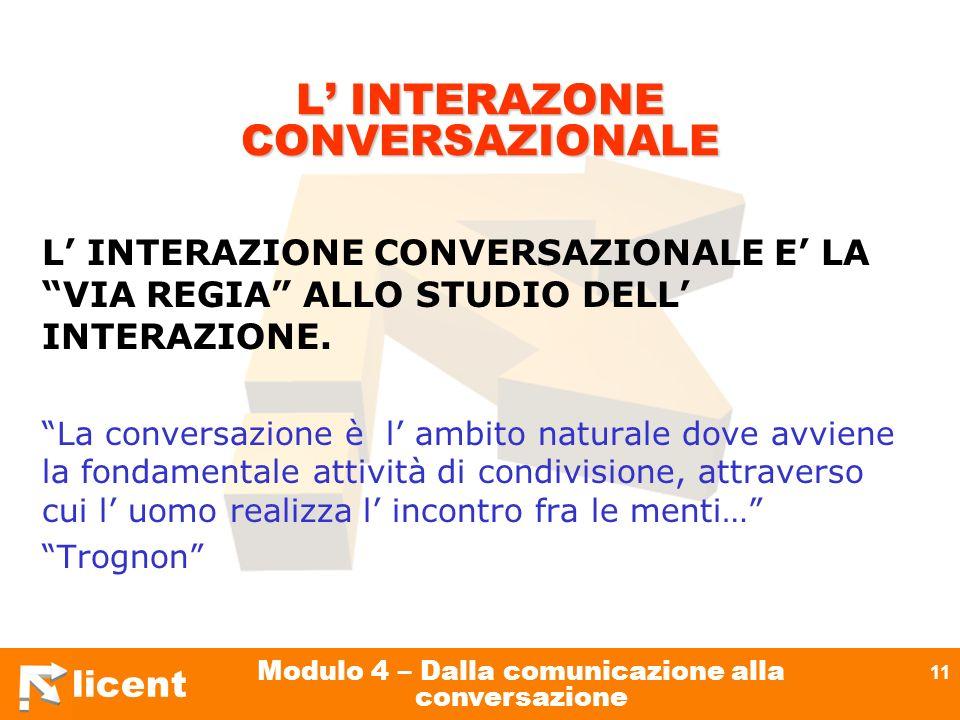L' INTERAZONE CONVERSAZIONALE