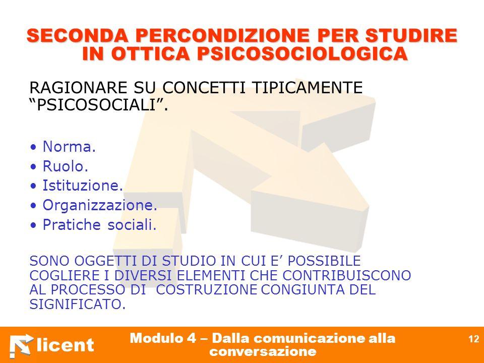 SECONDA PERCONDIZIONE PER STUDIRE IN OTTICA PSICOSOCIOLOGICA