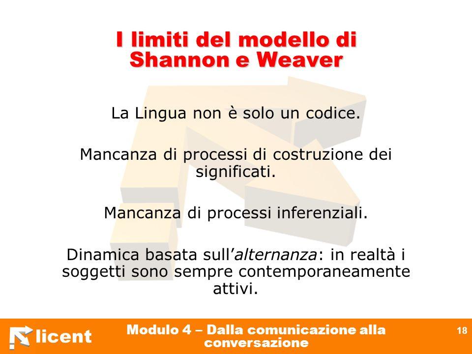 I limiti del modello di Shannon e Weaver