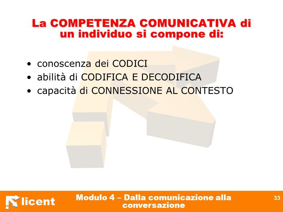 La COMPETENZA COMUNICATIVA di un individuo si compone di: