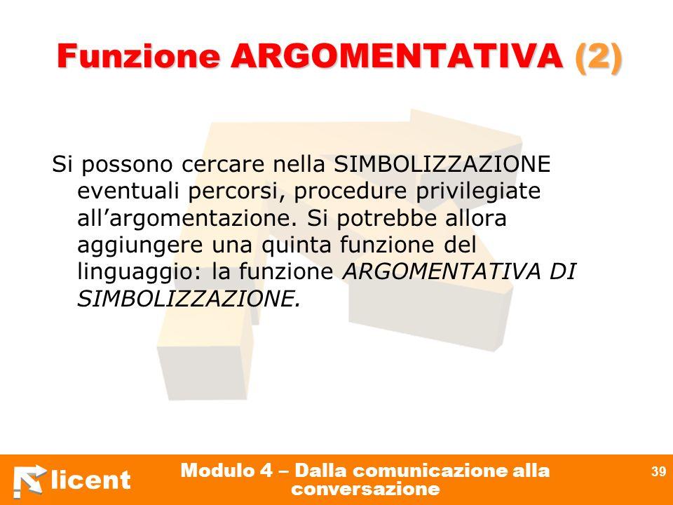 Funzione ARGOMENTATIVA (2)