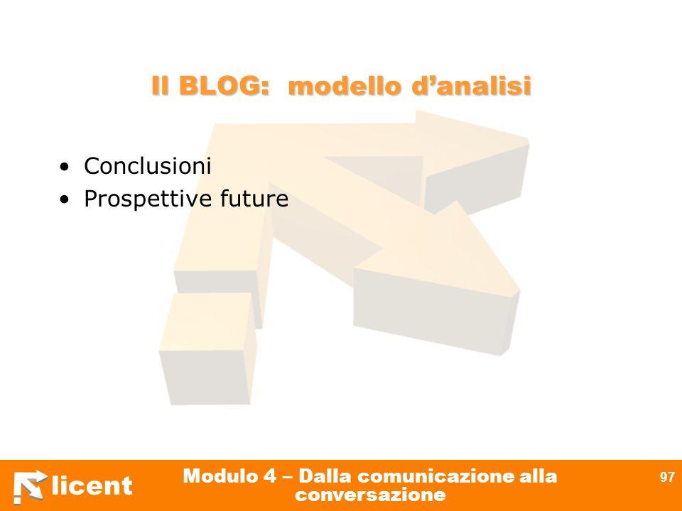 Il BLOG: modello d'analisi