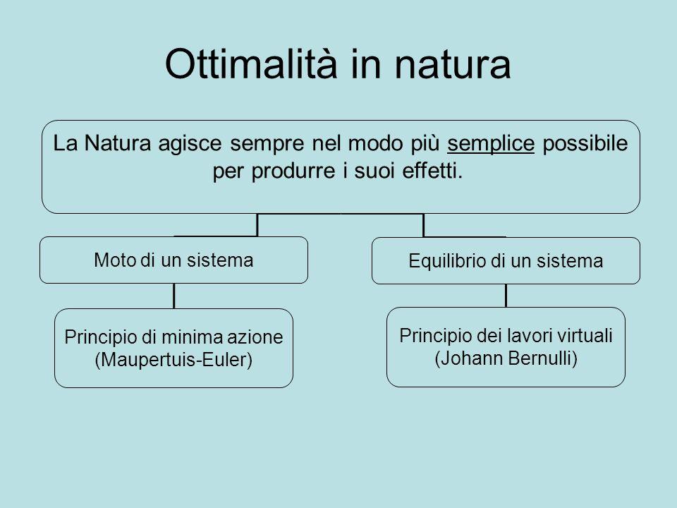 Ottimalità in natura La Natura agisce sempre nel modo più semplice possibile. per produrre i suoi effetti.