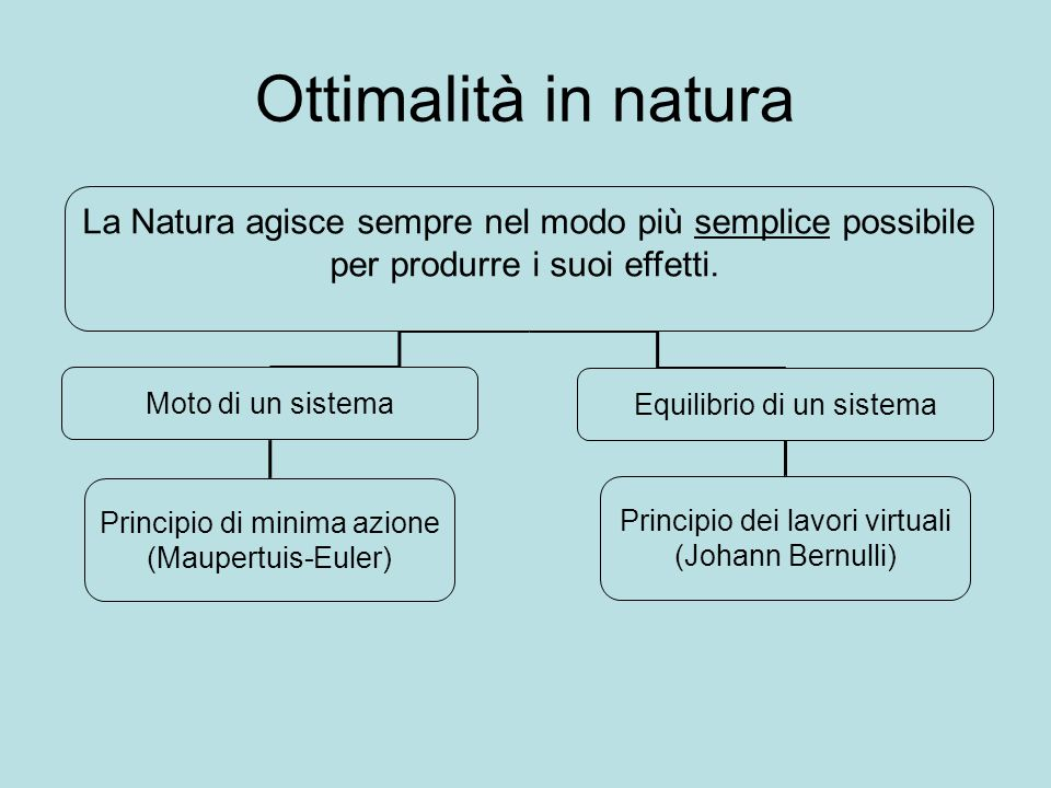 Ottimalità in naturaLa Natura agisce sempre nel modo più semplice possibile. per produrre i suoi effetti.