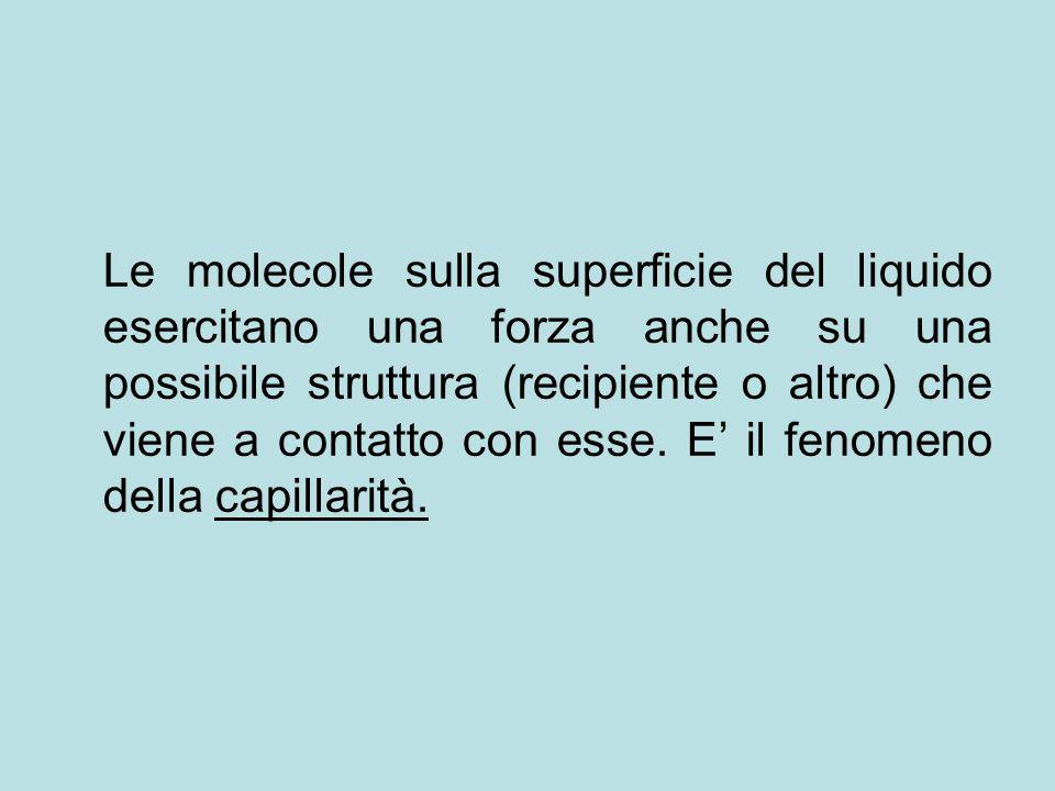 Le molecole sulla superficie del liquido esercitano una forza anche su una possibile struttura (recipiente o altro) che viene a contatto con esse.