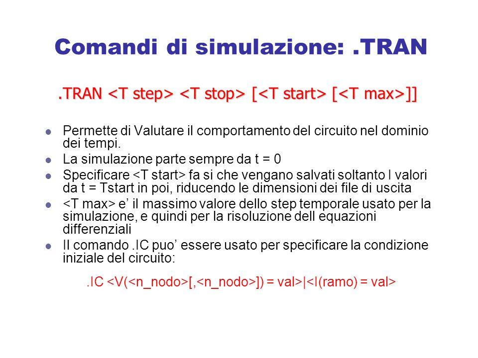 Comandi di simulazione: .TRAN