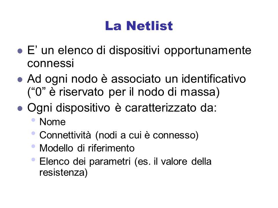 La Netlist E' un elenco di dispositivi opportunamente connessi