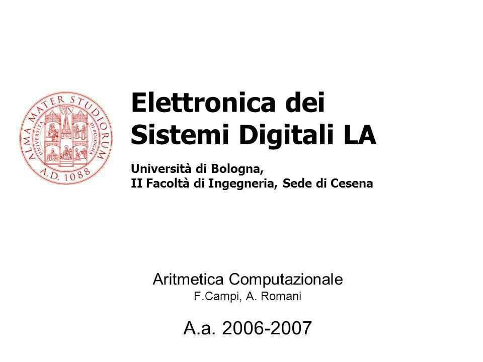 Aritmetica Computazionale F.Campi, A. Romani A.a. 2006-2007