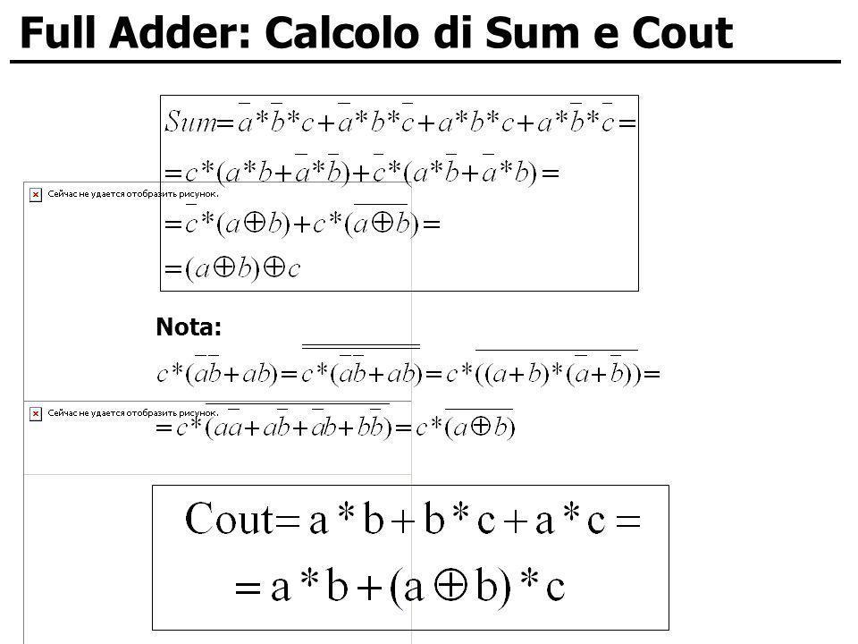 Full Adder: Calcolo di Sum e Cout