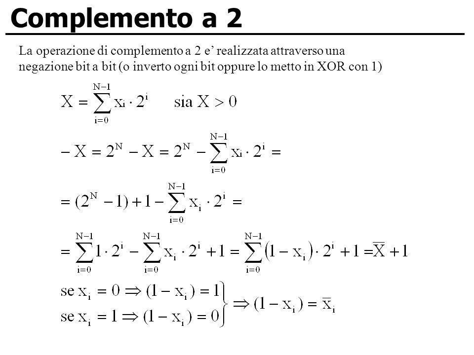 Complemento a 2 La operazione di complemento a 2 e' realizzata attraverso una.