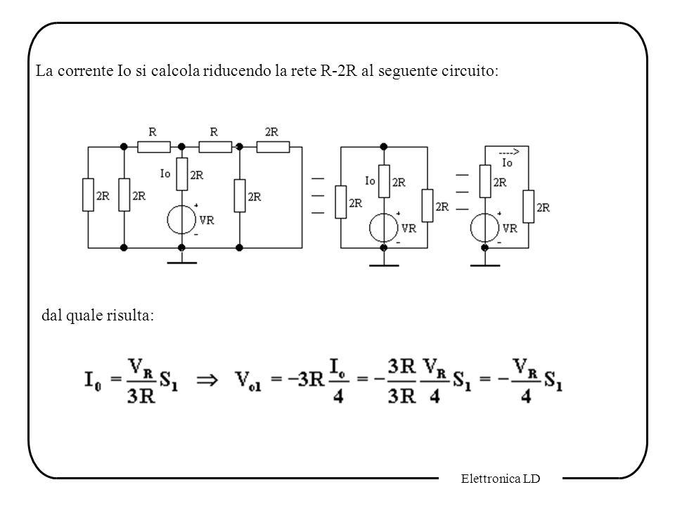 La corrente Io si calcola riducendo la rete R-2R al seguente circuito:
