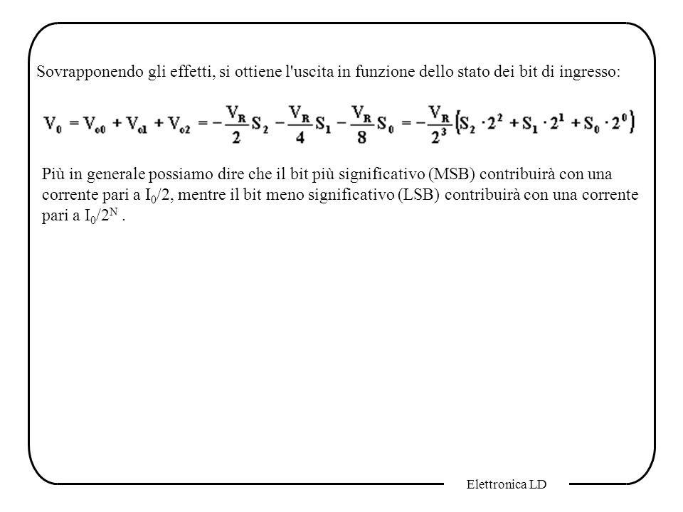 Sovrapponendo gli effetti, si ottiene l uscita in funzione dello stato dei bit di ingresso: