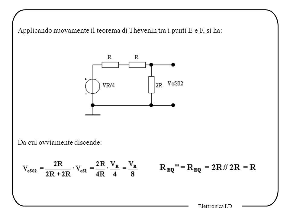 Applicando nuovamente il teorema di Thèvenin tra i punti E e F, si ha: