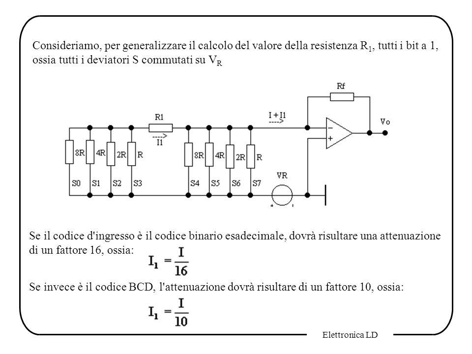 Consideriamo, per generalizzare il calcolo del valore della resistenza R1, tutti i bit a 1, ossia tutti i deviatori S commutati su VR