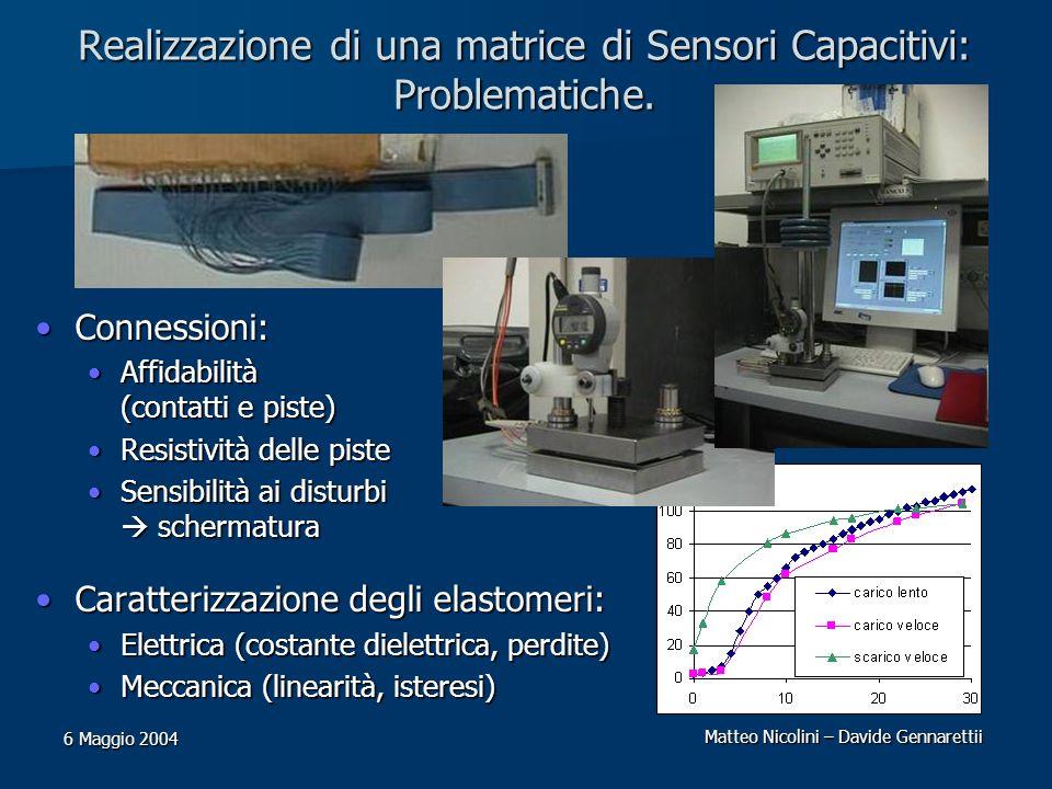 Realizzazione di una matrice di Sensori Capacitivi: Problematiche.