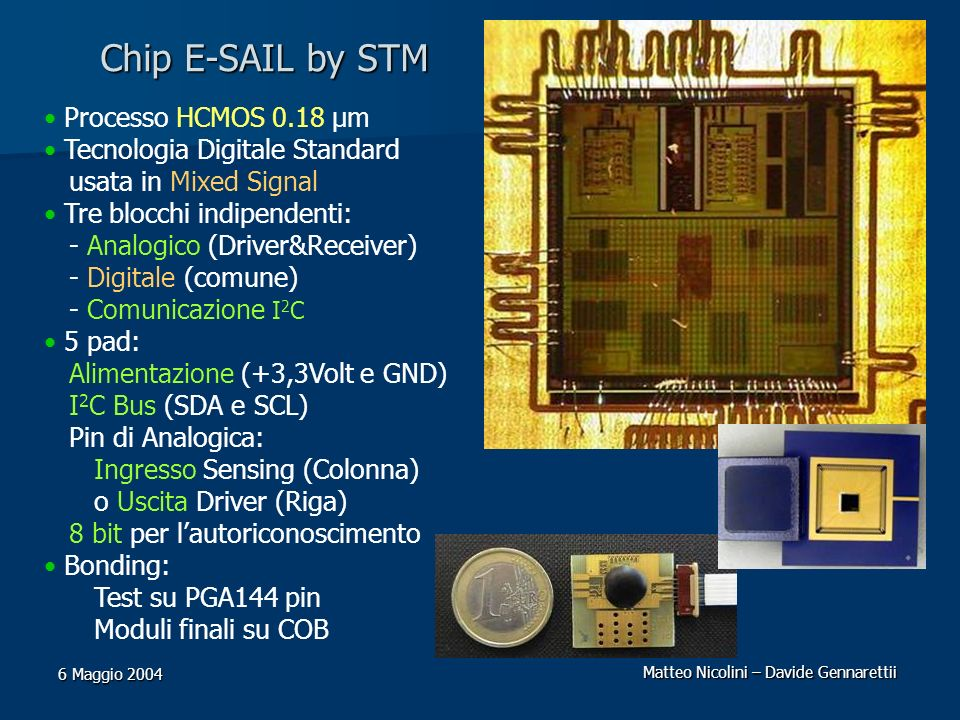 Chip E-SAIL by STM Processo HCMOS 0.18 μm