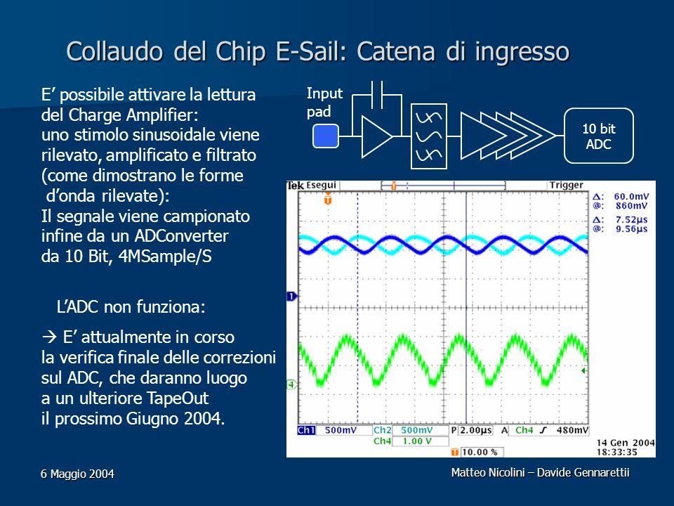 Collaudo del Chip E-Sail: Catena di ingresso