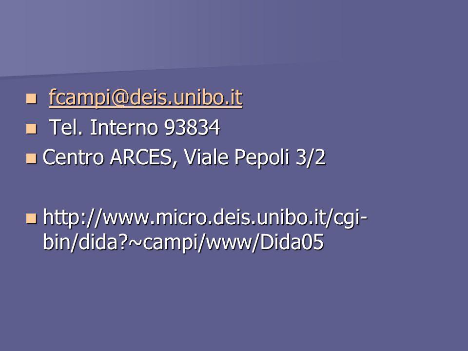 fcampi@deis.unibo.it Tel. Interno 93834. Centro ARCES, Viale Pepoli 3/2.