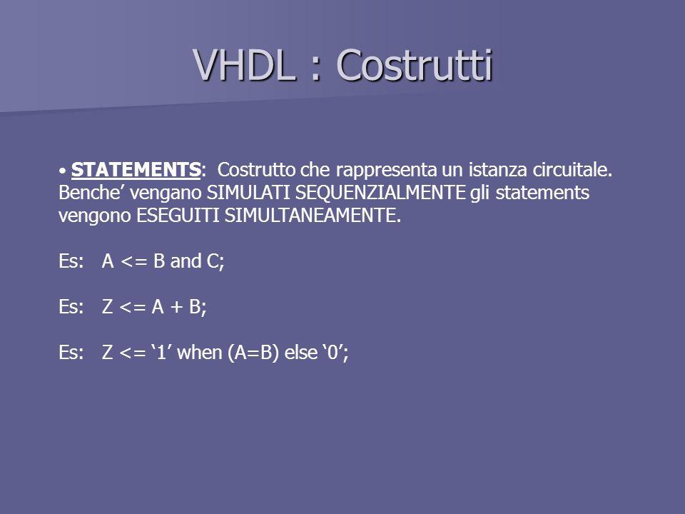 VHDL : Costrutti STATEMENTS: Costrutto che rappresenta un istanza circuitale. Benche' vengano SIMULATI SEQUENZIALMENTE gli statements.