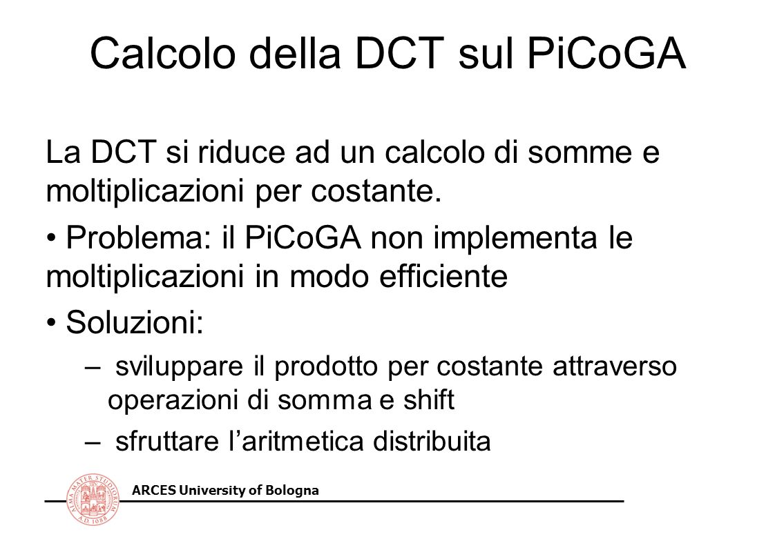 Calcolo della DCT sul PiCoGA