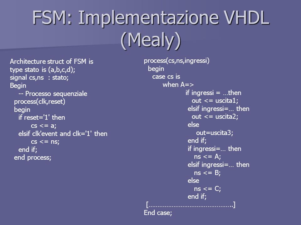 FSM: Implementazione VHDL (Mealy)