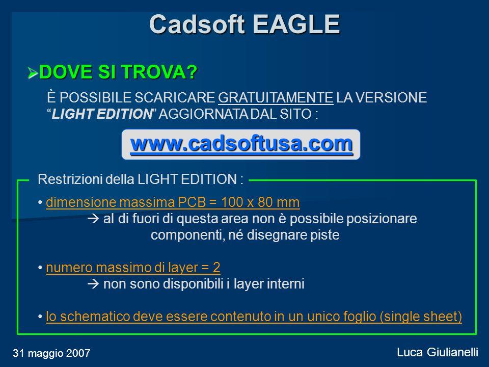 Cadsoft EAGLE www.cadsoftusa.com DOVE SI TROVA