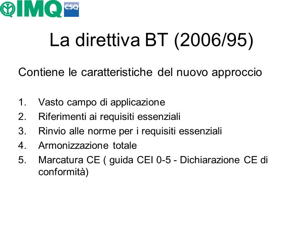La direttiva BT (2006/95) Contiene le caratteristiche del nuovo approccio. Vasto campo di applicazione.