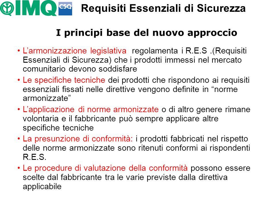Requisiti Essenziali di Sicurezza I principi base del nuovo approccio
