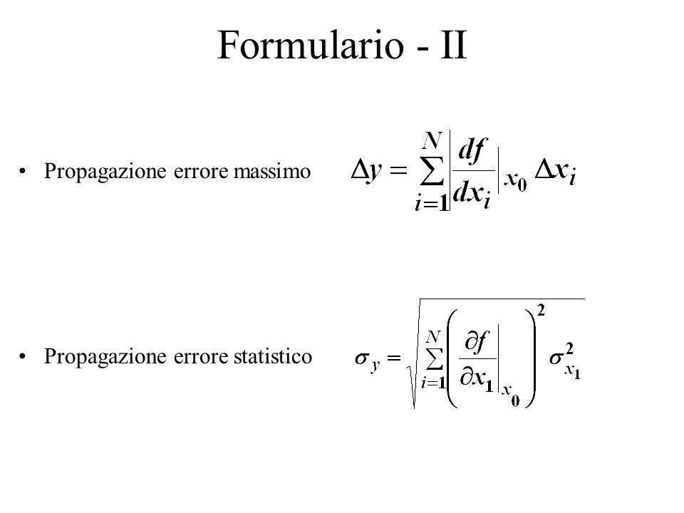 Formulario - II Propagazione errore massimo