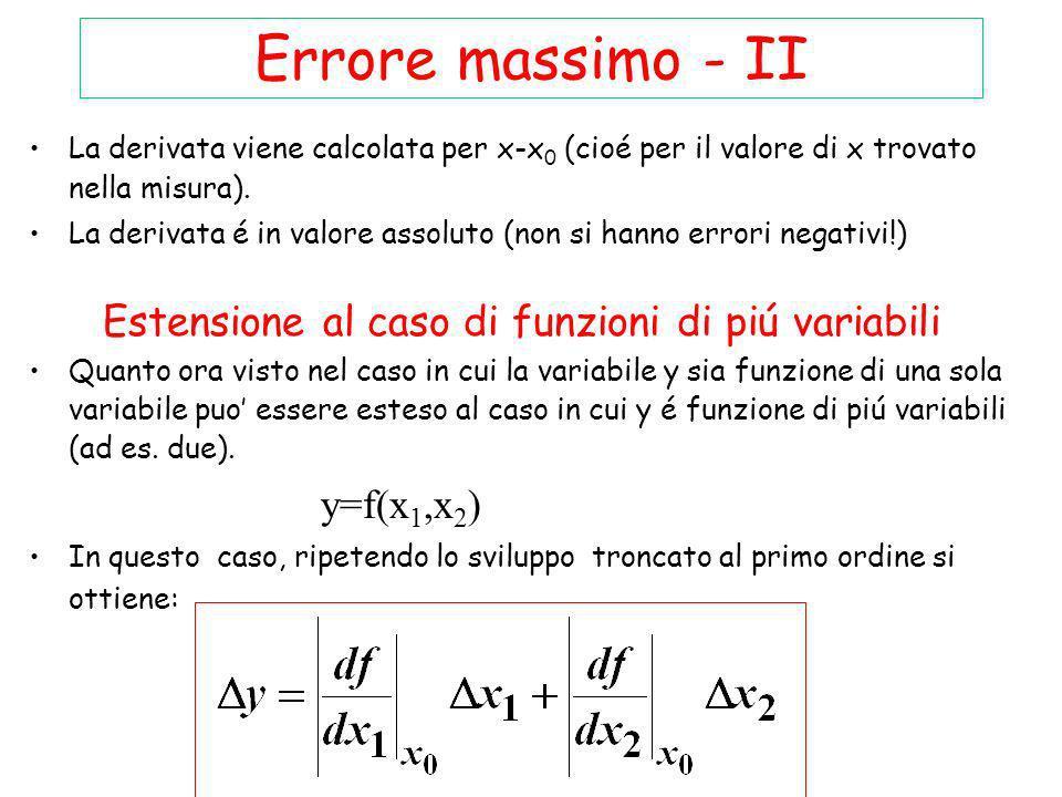 Errore massimo - II Estensione al caso di funzioni di piú variabili