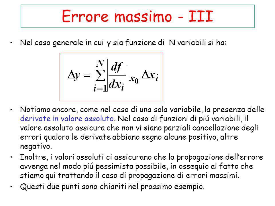 Errore massimo - III Nel caso generale in cui y sia funzione di N variabili si ha: