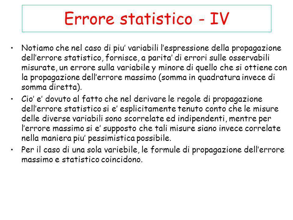 Errore statistico - IV