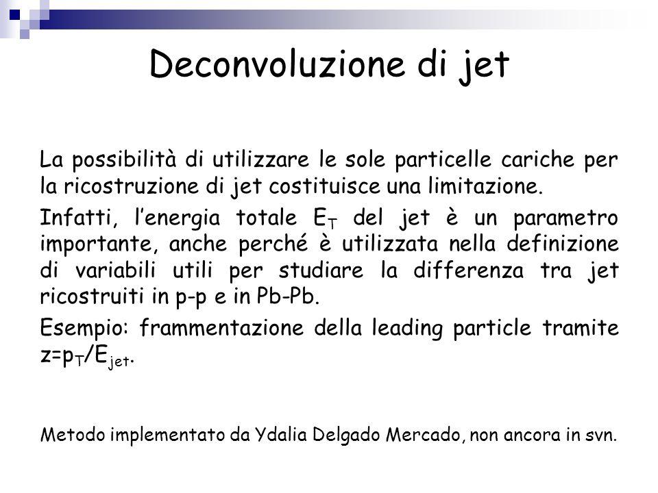 Deconvoluzione di jet La possibilità di utilizzare le sole particelle cariche per la ricostruzione di jet costituisce una limitazione.