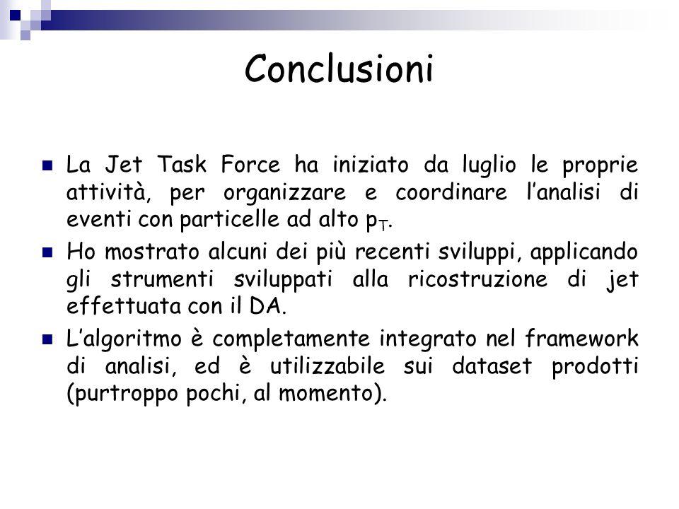 Conclusioni La Jet Task Force ha iniziato da luglio le proprie attività, per organizzare e coordinare l'analisi di eventi con particelle ad alto pT.