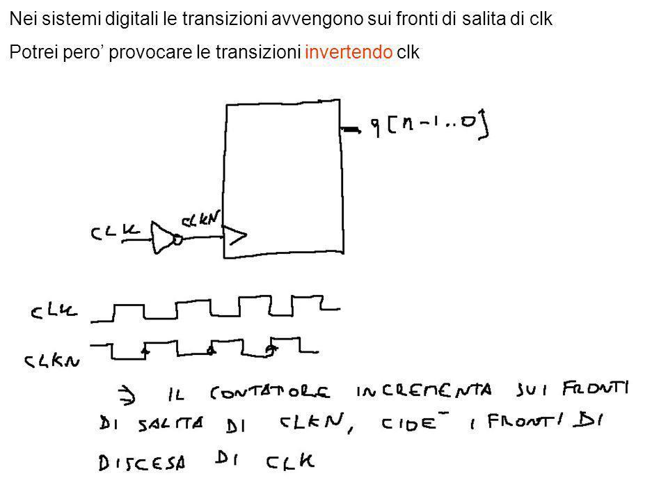 Nei sistemi digitali le transizioni avvengono sui fronti di salita di clk