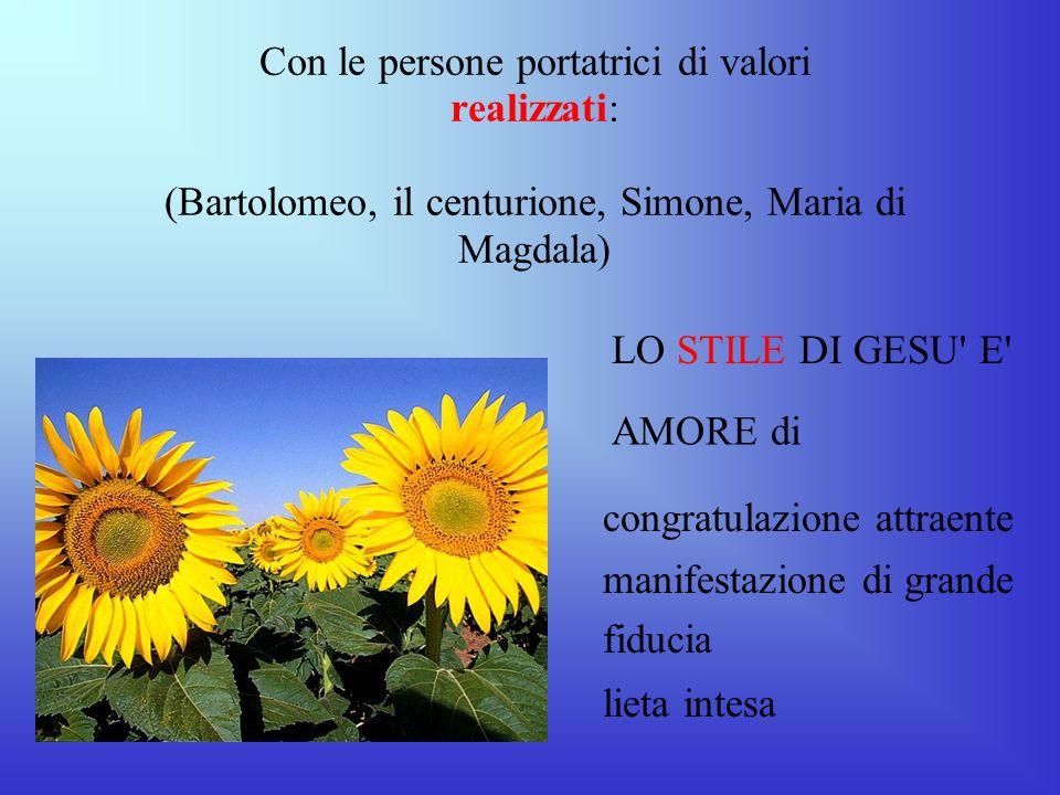 Con le persone portatrici di valori realizzati: (Bartolomeo, il centurione, Simone, Maria di Magdala)