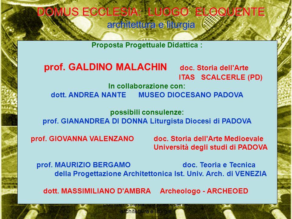 DOMUS ECCLESIA: LUOGO ELOQUENTE architettura e liturgia