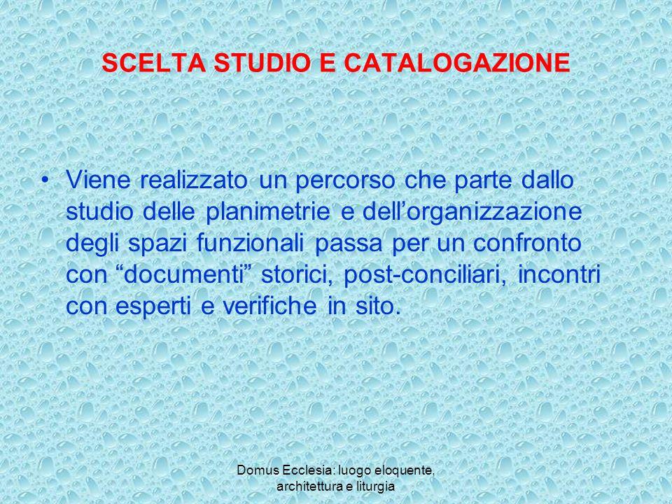 SCELTA STUDIO E CATALOGAZIONE
