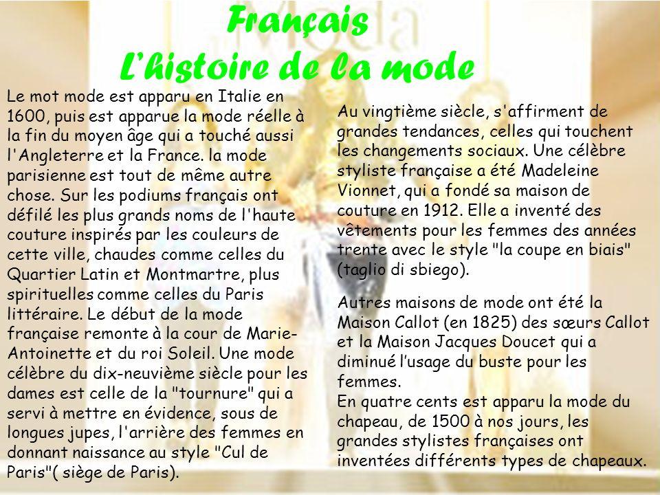 Français L'histoire de la mode