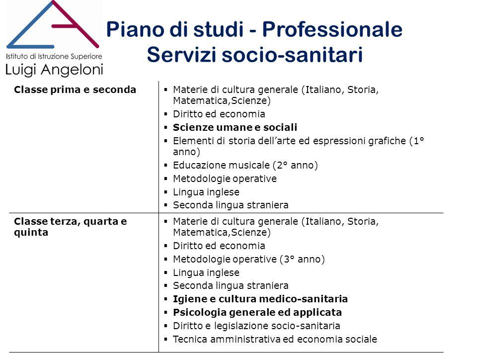 Piano di studi - Professionale Servizi socio-sanitari
