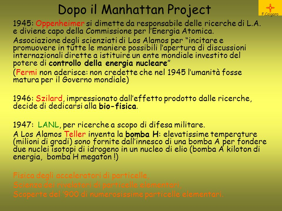 Dopo il Manhattan Project
