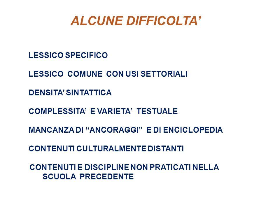 · ALCUNE DIFFICOLTA' LESSICO SPECIFICO