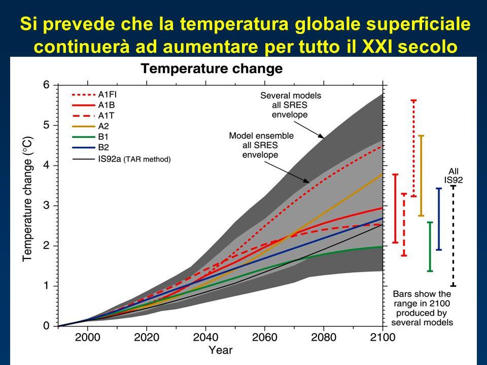 Si prevede che la temperatura globale superficiale continuerà ad aumentare per tutto il XXI secolo