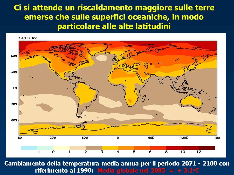 Ci si attende un riscaldamento maggiore sulle terre emerse che sulle superfici oceaniche, in modo particolare alle alte latitudini