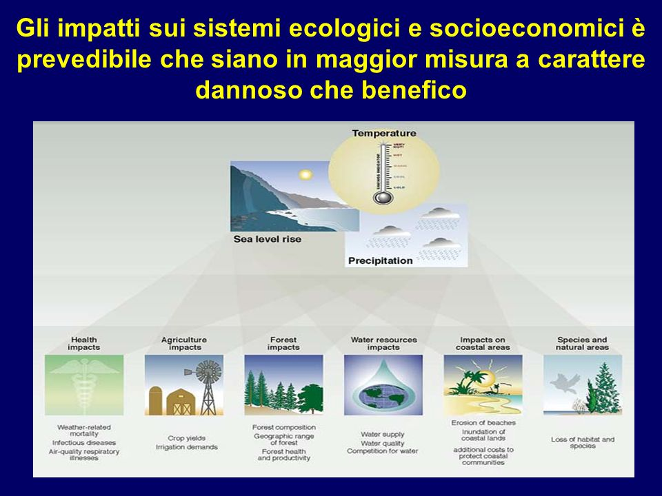 Gli impatti sui sistemi ecologici e socioeconomici è prevedibile che siano in maggior misura a carattere dannoso che benefico