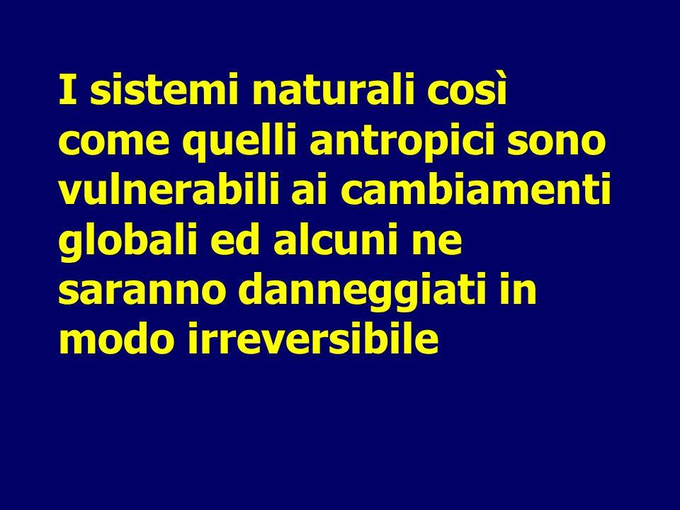 I sistemi naturali così come quelli antropici sono vulnerabili ai cambiamenti globali ed alcuni ne saranno danneggiati in modo irreversibile